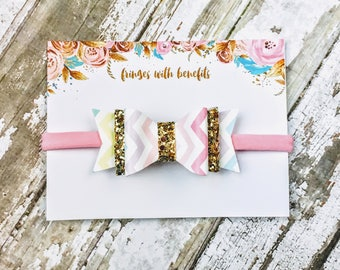 Pastel Chevron & Gold Faux Leather Bow, Baby Headband, Little Girl Headband, Baby Bow, Petite Bow, Newborn Bow, Mini Headband, Photo Prop