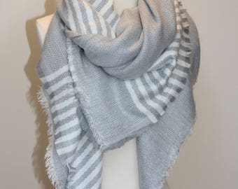 Sale! New Lady Blanket Oversized Tartan Scarf Wrap Shawl Plaid Multi Color – Gray White Stripe
