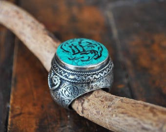 FREE SHIPPING. Handmade Afghan ring. Turquoise. Unisex ring with Stamp. Arab calligraphy. Boho, vintage, ethnic, tribal styles. Tass Orient.