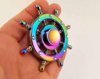 Ship wheel fidget spinner, metal fidget spinner, rainbow fidget spinner, nautical fidget spinners, finger spinner toy, gyro, giro, adhd toys
