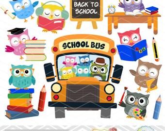 Digital Owl Clip Art, School Owl Digital Clipart, Back to School Owl Clip Art Instant Download School Owl Clip Art Graduate Owl Clipart 0249