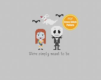 Jack Skellington Cross stitch - Halloween Cross stitch - Jack and Sally - Nightmare Before Christmas - PDF Instant Download