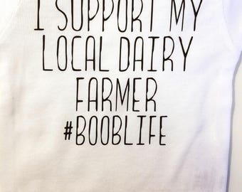 I Support My Local Dairy Farmer #Booblife Baby Onesie, Cute Baby Onesie, Funny Baby Onesie, Breastfeeding Baby Onesie, Milk Baby Onesie