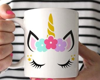 Unicorn Face Coffee Mug, Pink Unicorn Coffee Mug, Unicorn Coffee Cup