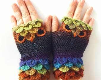 OOAK Owl gloves Fingerless gloves Womens gloves Winter gloves handmade wrist warmers arm warmers texting gloves Driving gloves