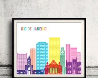 Rio de Janeiro skyline pop - Fine Art Print Glicee Poster Gift Illustration Pop Art Colorful Landmarks - SKU 2541
