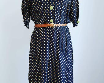 Vintage dress size UK 14 Navy with polka dots - Summer dress