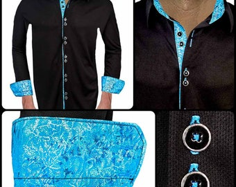 Black and Blue Moisture Wicking Dress Shirt - Made in USA