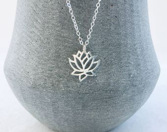 Lotus Flower Necklace in Sterling Silver, Silver Lotus Pendant Necklace, Yoga Meditation Jewellery, Gift For Yogis
