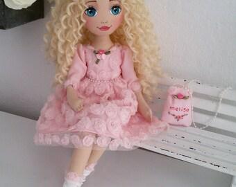 Blonde Hair Doll, Cloth Doll, Sweety Doll, Pink Dress Doll, Fabric Doll, Dolls, Handmade Doll, Fashion Doll, Softhy Doll, Fabric Doll