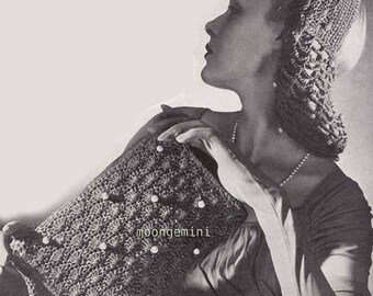 Bag & Snood Crochet Vintage Pattern Purse Handbag Tote Hat Hairnet Hair Net PDF