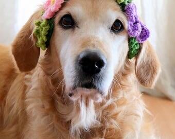 Dog Wreath, Flower Wreath for Dogs, Dog Flower Crown, Dog Flower Collar, Wedding Dog Flower Girl, Spring Dog Outfit, Wedding Dog Photo Prop