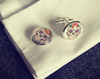 Day of the Dead Halloween Skull cufflinks silver plated with full colour candy skull decoration