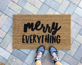 merry everything holiday doormat / Custom welcome mat/ Housewarming Gift / Unique Gifts / Gifts for Her / Christmas Doormat / Porch Decor