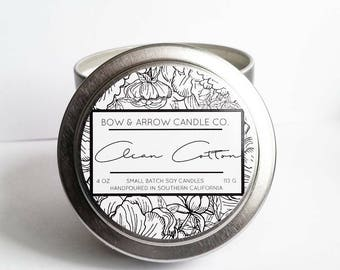 Clean Cotton Natural Soy Candle 4 oz | Eco-Friendly Candle | Soy Candle | Cotton Scented Candle | Spring Candle | Gift Idea | Linen Scented