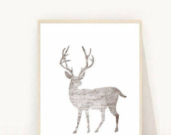 Stag, Stag Print, Stag Wall art, Animal Prints, Modern Nursery, Stag Download, Printable Art, Modern Wall Art, Instant Download, Wall Decor