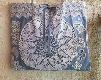 Boho bag, Beach bag, Bohemian purse, Crochet bag, Vintage lace bag, Resort bag, Recycled denim tote bag, Designer bag, Handmade handbag
