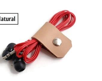 Handmade Leather Earphone organizer. Cord holder. USB Cable Holder. Cable Organizer. Headphone holder. Cable holder. Cable winder Gift ideas