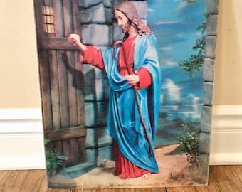 Jesus Christ Jesus Picture Jesus Art Jesus Knocking Picture of Christ Religious Wall Art Religious Decor Vintage Art Vintage Jesus Art Old