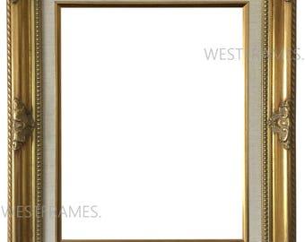Estelle Antique Gold Leaf Wood Picture Frame with Natural Linen Liner