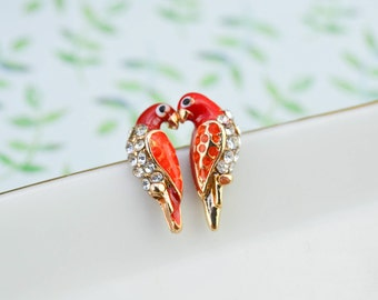 Ear studs inseparable birds - Post earrings - Animal jewelry - funky studs - Geek - Rockabilly - fine and delicate earring - gift for her