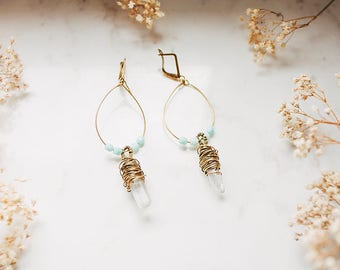Mint coloured Quartz Drop Earrings