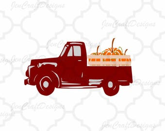 Vintage Old Red Fall Pumpkins Truck SVG Vintage truck SVG classic truck svg cut File, DXF, eps, png for Silhouette, Cricut Digital Cut Files
