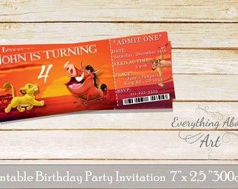 Lion King invitation, Lion King ticket invitation, Lion King birthday, timon and pumbaa invitation, simba invitation, Ticket Birthday Invite
