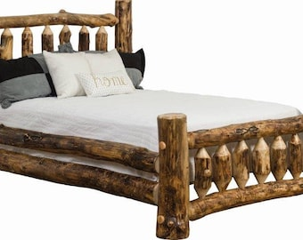 Rustic Aspen Log Mission Bed In King, Queen, Full, Or Twin   Amish