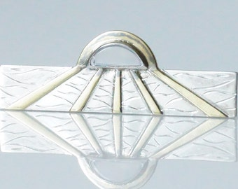 Vintage Art Deco Sterling Silver Gold Moonstone Tie Clip