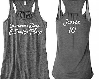 Summer Days And Double Plays Tank, Baseball Tank, Softball Tank