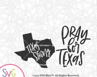 Texas Fundraiser SVG Bundle- 2 Handlettered Designs for Cricut or Silhouette, Pray for Texas, Texas Strong