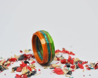 Wood - recycled Skateboard - faceted ring