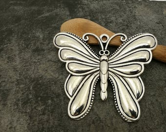 Large Butterfly pendant, large Butterfly silver metal 65 x 57 mm