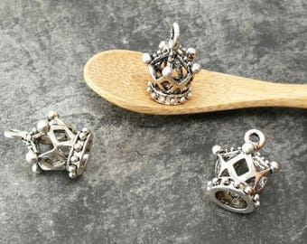 Pendant Crown Queen King Princess vintage silver plated, 18 mm, jewelry making