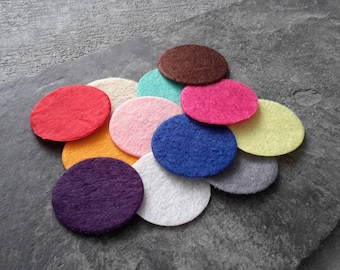 30 mm round multicolored felt pads, oil essential color applique embroidery hobby, 20 pcs sequins patch