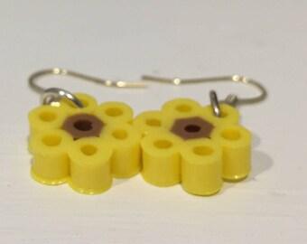Sunflower Perler Bead Earrings!