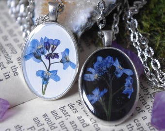 Forget-me-not real flower necklace Forget-me-not Necklace resin jewelry botanical jewelry pressed forget-me-nots bridesmaid jewelry