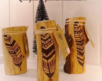 Feather Indian, Bohemian, shaman, handmade wood candle holder handmade, recycled, fall - pumpkin - free shipping Jean