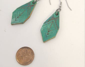 Turquoise Earrings - Leather Earrings - Free Shipping