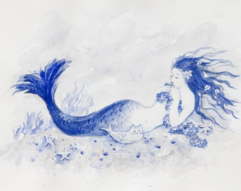 Blue Mermaid Cat Nap, greeting card print from watercolor by Tina Obrien, Mermaid, cat, mercat, beachart, cottage