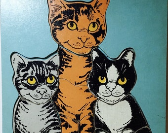 Cat and Kittens Wood Puzzle by the Judy Company