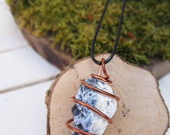 Copper wrapped, Raw Sodalite, pendant.