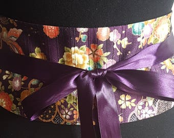 Purple background with flowers and butterflies obi belt