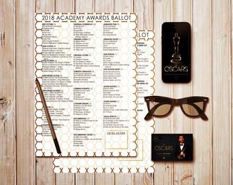 2018 Oscar Ballot / Academy Awards Party Game / Printable Ballot / 2018 Academy Awards Download / Oscars