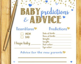 Baby Shower Game - Baby Predictions and Advice - Blue and Gold - Instant Printable Digital Download - diy Baby Shower Printables Activity
