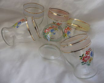 Set of Six Shot Glasses with Floral Design and Gilding