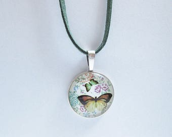 Necklace, Cabochonanhänger with a butterfly motif, gifts for women,