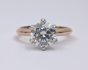 Novo Solitaire Round Forever Brilliant Moissanite Engagement Ring in 14K White & Rose Gold