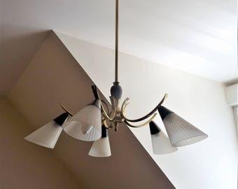 Réservé Janeb-Suspension chandelier lustre stilnovo noir et or à  5 lumières en verre satiné rainuré/illuminati10